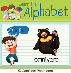 Flashcard letter O is for omnivore illustration