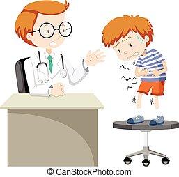 Sick boy visiting doctor illustration