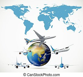 Many airplanes flying around the world