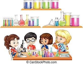 Ciencia, niños, Conjunto, experimento, Vasos de precipitados