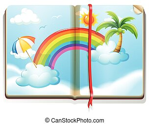 Book with rainbow in the sky