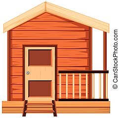Wooden house with balcony illustration