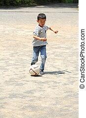 Menino, school), bola, (first, grau, japoneses, Elementar,...