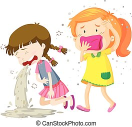 Two girls being sick illustration