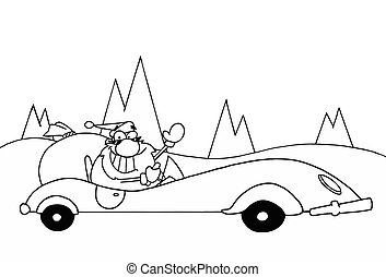 Santa Driving A Convertible - Black And White Coloring Page...