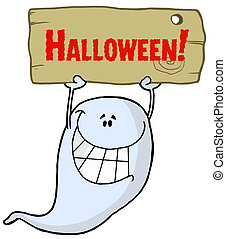 Ghost Holding Up A Wooden Halloween