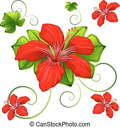 Seamless background design with red hibicus and green leaves