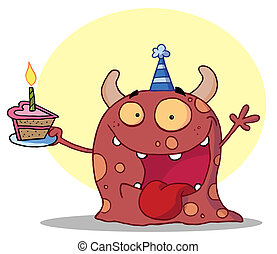 Happy monster celebrates - Hyper Partying Monster With Horns...