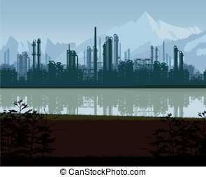 Background of oil and gas refinery.