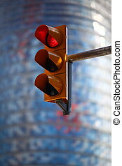 red traffic light - Red traffic light against the blue...