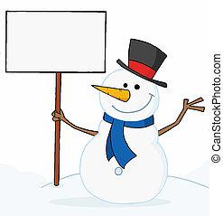 Snowman Holding A Blank Sign - Joyous Snowman Holding A...