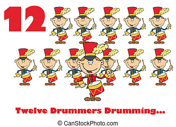 Twelve Drummers Drumming - Red Number Twelve And Text By...