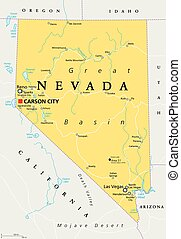 Nevada political map with capital Carson City. State in the...
