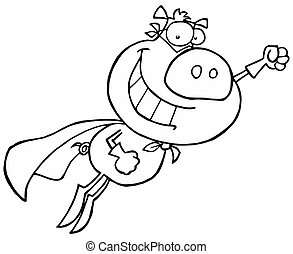 Black And White Super Pig Flying With A Cape