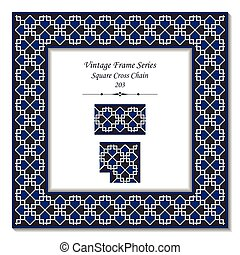 Vintage 3D frame of Square Cross Chain