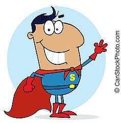 Super Hero Waving Man - Hispanic Cartoon Super Hero Waving...