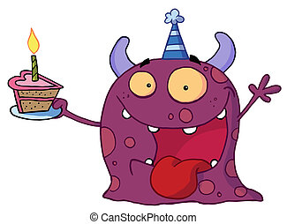Monster celebrates birthday - Happy purple monster...