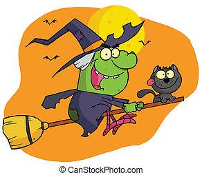 Witch riding broom - Wicked Halloween Witch And Cat Flying...