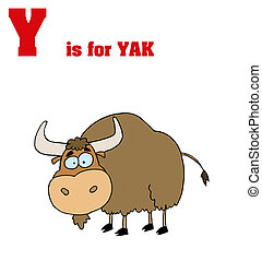 Yak With Y Is For Yak Text - Funny Cartoons Alphabet with...