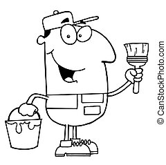Outlined House Painter - Male House Painter Holding A Pail...