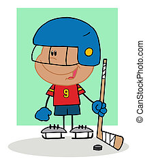 Hispanic Boy Playing Hockey Goalie