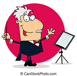 Caucasian Cartoon Conducting Man