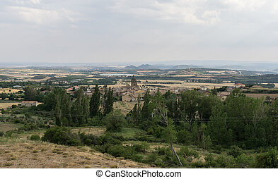 Panoramic views of Loarre, Aragon, Huesca, Spain from atop...