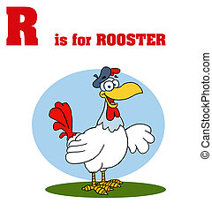 Rooster With R Is For Rooster Text - Funny Cartoons Alphabet...