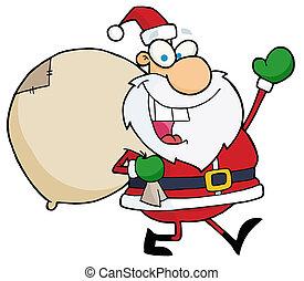 Jolly Christmas Santa Waving And Walking With His Toy Sack