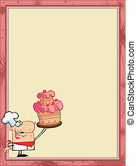 Proud Cake Chef In The Corner Of A Stationery Background Or...