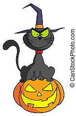 Halloween cat on pumpkin - Black Witch Cat Sitting On Top Of...