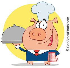 Nice Waiter Pig In A Chefs Hat, Serving Food On A Platter,...