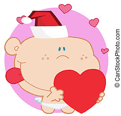 Romantic cupid with red heart