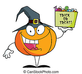 Pumkin a bag of candy - Pumpkin Character Holding Up A Tub...