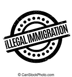 Illegal Immigration rubber stamp. Grunge design with dust...