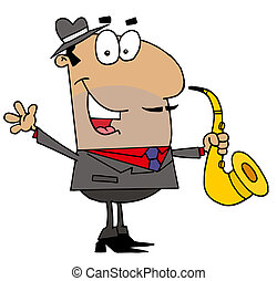 Hispanic Saxophone Player Man - Hispanic Cartoon Saxophone...