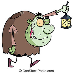 Green Igor Carrying A Lantern - Cartoon character halloween...
