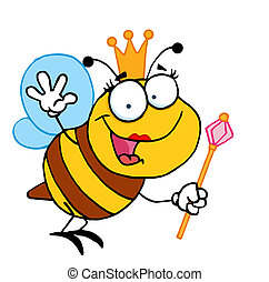 Friendly Queen Bee - Cute Bee Cartoon Character