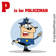 Cop With P Is For Policeman Text - Funny Cartoons Alphabet...
