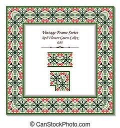 Vintage 3D frame of Red Flower Green Calyx