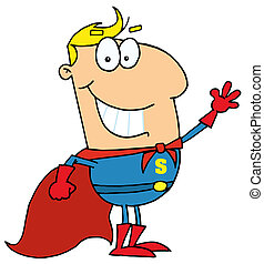 Cartoon Super Hero Waving Man - Caucasian Cartoon Super Hero...