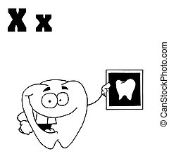Outlined Tooth Holding An Xray With Letters X