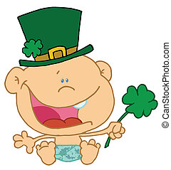 Baby St Patrick\'s Day Boy In A Diaper And Hat, Holding A...