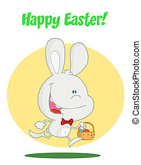 Bunny with easter eggs in a basket - Happy Easter Greeting...