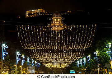 Christmas lighting on Sderot Ben Gurion in Haifa - Christmas...