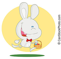Bunny running with easter eggs - Exited Running White Bunny...