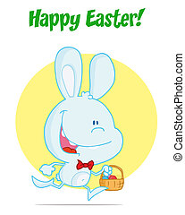 Grey bunny running with easter eggs - Happy Easter Greeting...