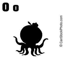 Silhouetted Octopus With Letters O