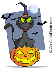 Cartoon halloween cat on pumpkin - Evil Black Witch Cat...