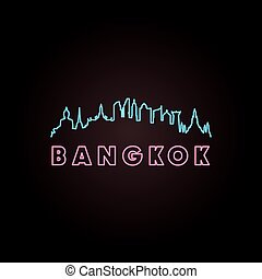 Bangkok skyline neon style in editable vector file.